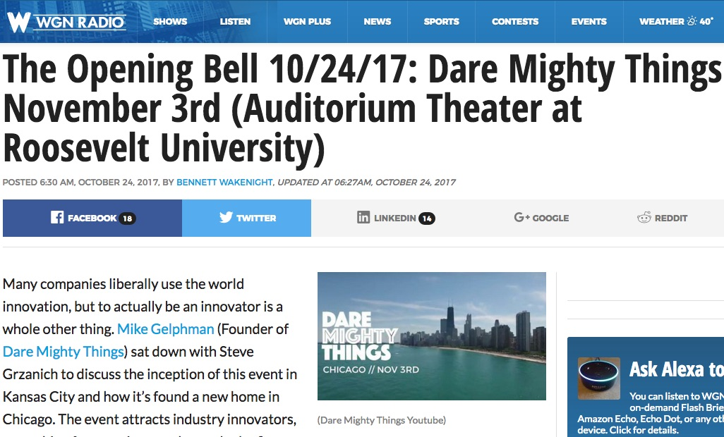 Dare Mighty Things Founder Interviewed On WGN's 'The Opening Bell':